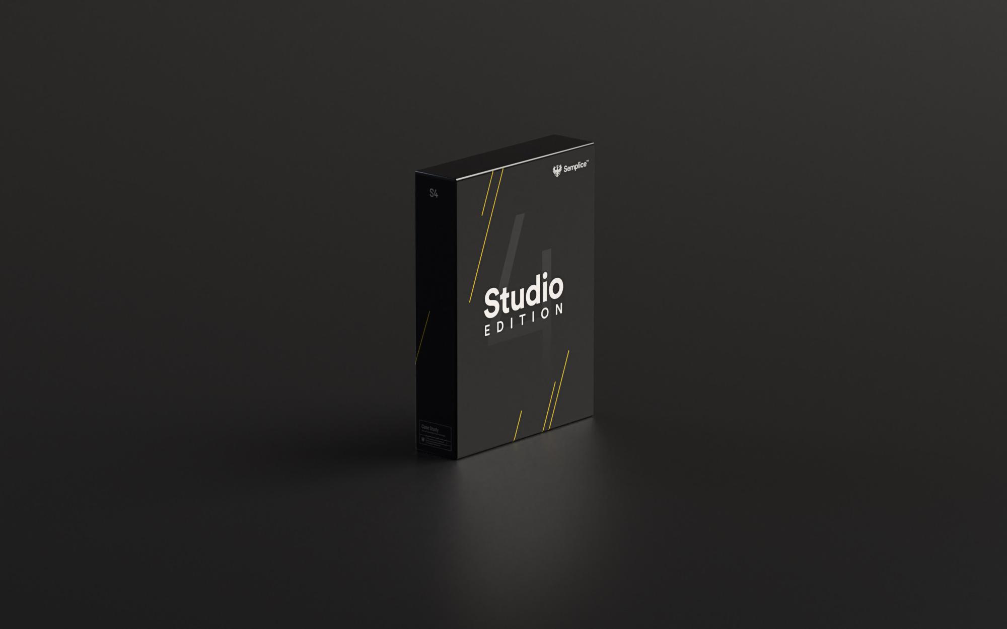 Rendered image of Semplice Studio box art using Adobe Dimension